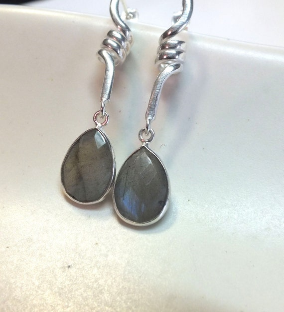 Pear Shaped Labradorite and Twisted Sterling Silver Dangles
