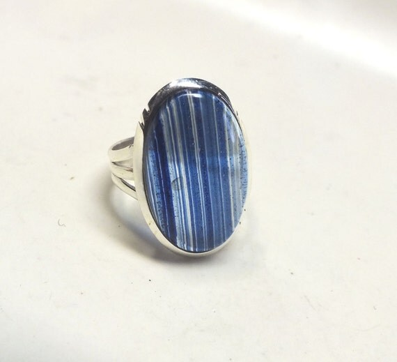 Oval Dichroic Glass---Bright Blue Stripes---Size 8 3/4