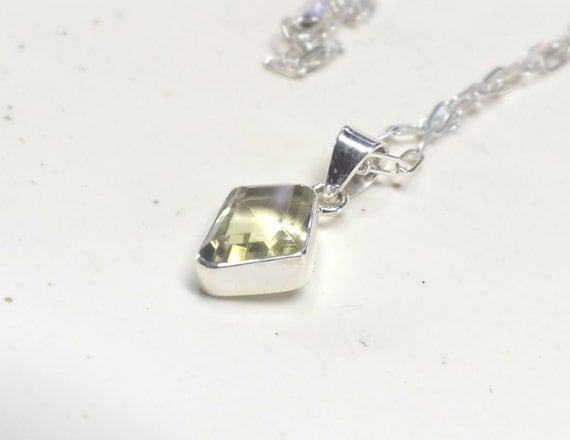 Faceted Citrine and  Sterling Silver Necklace