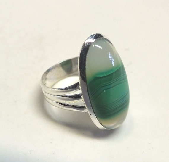Bright Green Botswana Agate and Sterling Silver Ring---Size 8 1/2