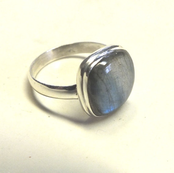 Square Labradorite and Sterling Silver Ring----Size 11