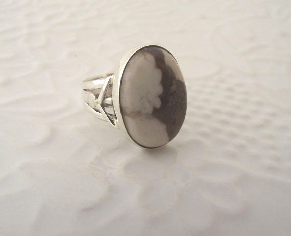 Peanut Wood Jasper Sterling Silver Ring---Size 8