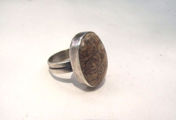 Oval Picture Jasper set in Sterling Silver with Antique Finish---Size 8 1/2