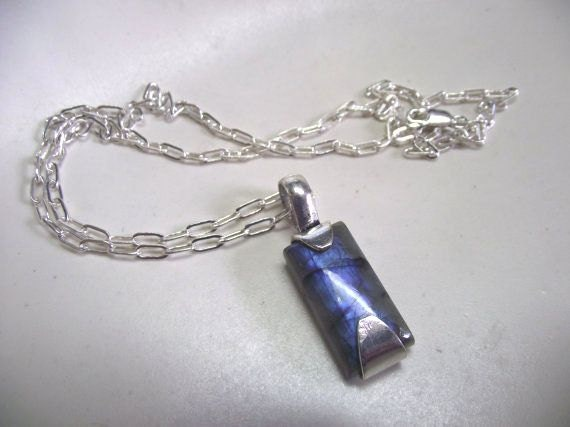 Blue Rectangle Labradorite and Sterling Silver Necklace