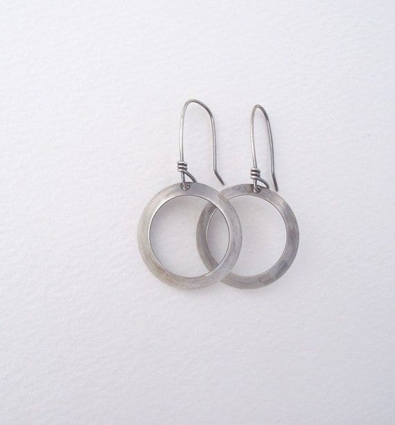 Laurel Earrings---Antiqued Sterling Silver  Domes with Cut out Center