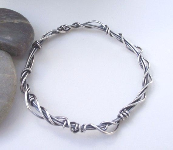 Mixed Emotions---Sculptural Sterling Silver Wire Bracelet---Woven, Twisted and Antiqued