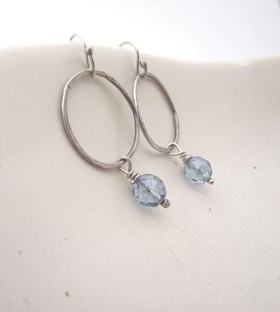 Calm Water---Sterling Silver Hoop  with Light Blue Czech Glass Bead