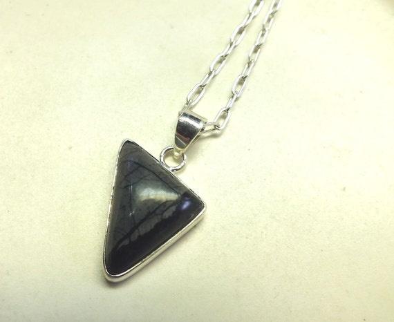 Black Picasso Jasper and Sterling Silver Necklace