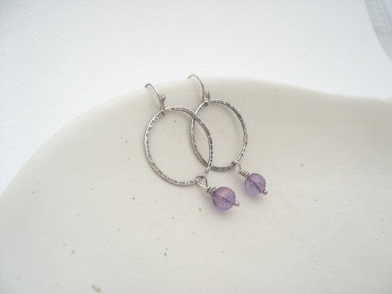 Field of Violets  Earrings---Sterling Silver Hoop  with AB Purple Glass Bead Dangle Earrings