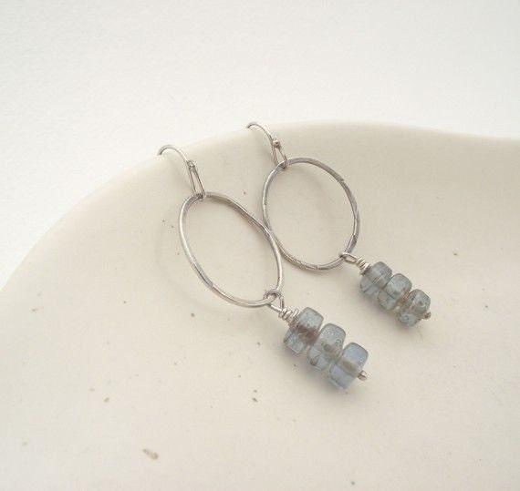 Rain Drop Earrings---Sterling Silver Hoop with Three Czech Glass Bead Dangle Earrings
