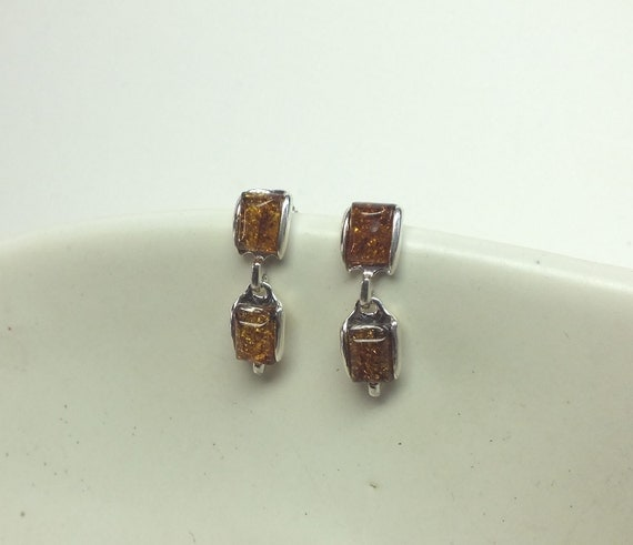 Square Amber and Sterling Silver Dangle Earrings