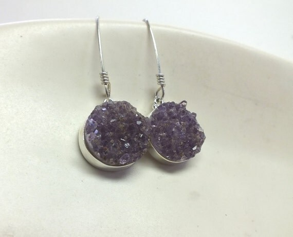 Round Amethyst and Sterling Silver Earring Dangles