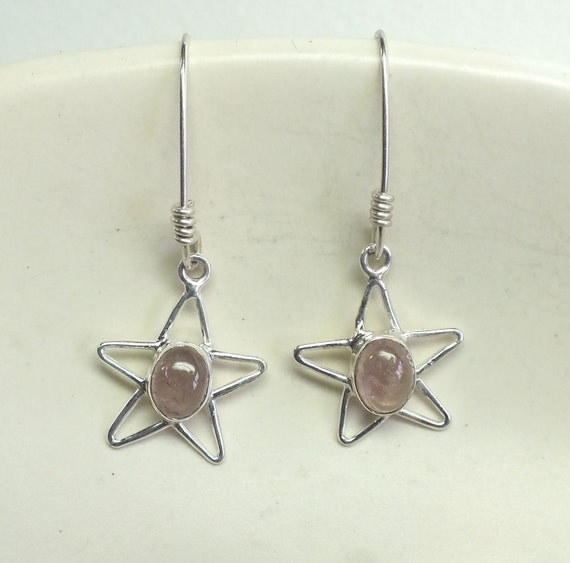 Oval Pink Tourmaline and Sterling Silver Star  Dangles