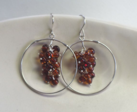 Amber Cluster and Sterling Silver Hoop Dangle Earrings