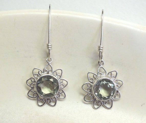 Faceted Green Amethyst and Sterling Silver Flower  Earrings