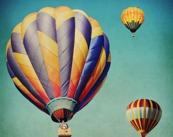Kids Room Art- Hot Air Balloon - Stripes - Sky - Colorful - Festival