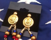 Vintage Military Button Earrings with Red , Gold and Blue Beads - LilyHill Vintage