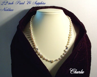 Freshwater Pearl Necklace made with Sapphires          FREE SHIPPING