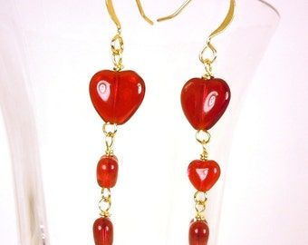 Bridemaids Earrings Red Hot Glass Hearts Love