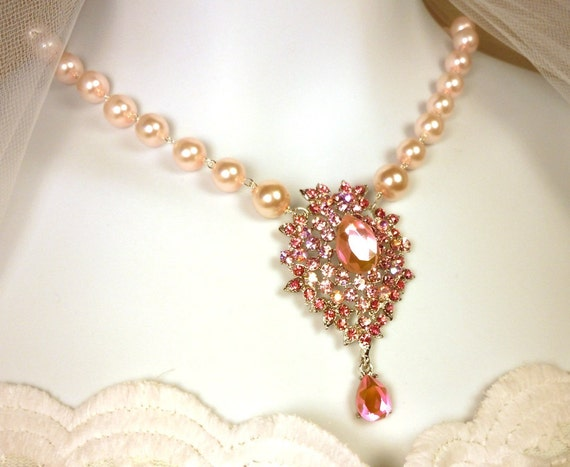 Pink Rhinestone Wedding Necklace Set with Earrings and Bracelet Bridal Jewelry
