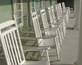 Photo Print - White Rocking Chairs Line the Veranda - 5x7