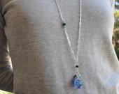 Blue and Turquoise Quartz - Water and Earth - Sterling Silver Cluster Long Necklace