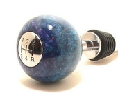 Hot Rod Peacock - Teal and Purple Chrome Gearshift Hand-Crafted Wine Bottle Stopper