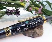 Iridescent Crushed Sea Shell Inlay Pen in Gun Metal and Gold