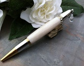 Charmed Pearly White Wedding Guest Book Pen - Swarovski Crystal Inlay and Suspended Crystal Charm - Free Engraving