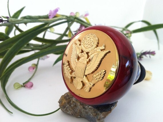 Wine Bottle Stopper - US Army Enlisted Insignia Embellished, Hand-Crafted Red, White and Blue