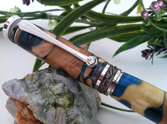 Jigsaw Fusion- Soft Blue, Grey and Wood Inlay Fountain Pen with a Swarovski Crystal Accent - FREE Engraving