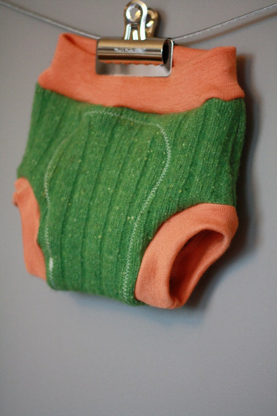 Lambie Love Wool Soaker--Size Small--Grass Green & Orange--Cloth Diaper Cover--Gender Neutral