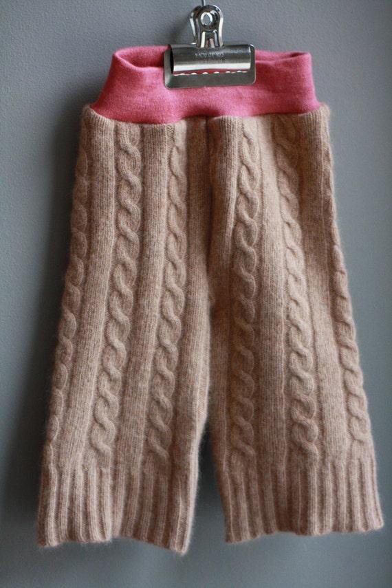 SMALL--Lambie Love Wool Longies--Caramel & Strawberries--Cloth Diaper Cover