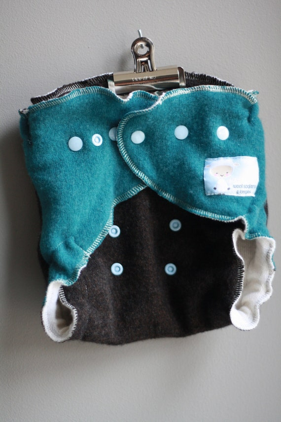 Lambie Love Wool Wrap--One Size Fits Most--Turquoise & Cocoa Brown--Cloth Diaper Cover