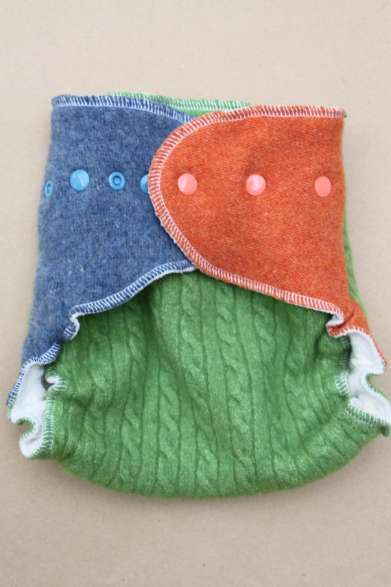 Lambie Love Wool Wrap--One Size Fits Most--Bunnies in the Garden--Green, Blue & Orange--Cloth Diaper Cover