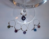 Wine Glass Charms-set of 6-glass bead stemware markers