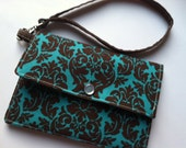 Wallet - Wristlet Wallet - Snap Wallet - Clutch Wallet - Womens Wallet - iPhone Wallet - Brown and Turquoise