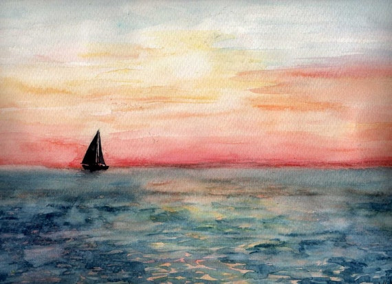 FREE SHIPPING - Sailing Sunset - Original watercolor painting