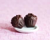 Triple Chocolate Cupcake Polymer Clay Earrings