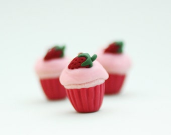 Strawberry Cupcake Polymer Clay Neckalce