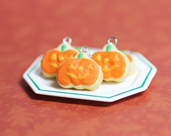 Jack-O-Lantern Sugar Cookie Charm Polymer Clay Food Halloween Jewelry