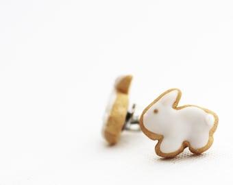 Easter Bunny Sugar Cookie Earrings Polymer Clay Food