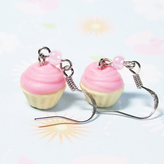 Polymer Clay Pink Frosted Cupcake Earrings
