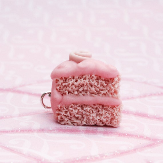 Pink Champagne Cake Slice Polymer Clay Charm