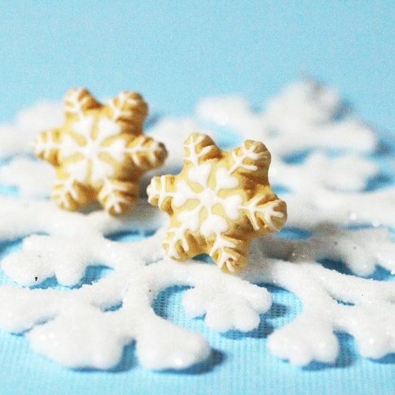 Christmas Snowflake Cookie Earrings Polymer Clay Food