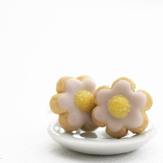 Flower Sugar Cookie Earrings Polymer Clay Food