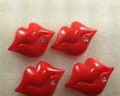 LaRgE ReD StUd RhiNeStoNe LiPs Kawaii Flatback Resin Cabochon 4 pieces USA SHIPPING... 50% off Sale Storewide