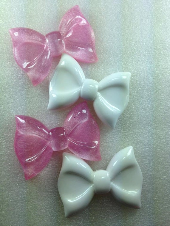 MeGa HuGe GLiTTeR PiNk aNd PLaiN WhiTe Kawaii Resin Cabochon 4 pieces USA SHIPPING 50% oFF WHoLe ShOp