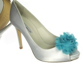 Magnetic Chiffon Flower Shoe Clips in Blue Turquoise