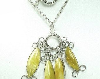 "Pendant ""Cluster"".  Natural genuine Baltic amber with sterling silver.  100% Natural Genuine Baltic Amber"